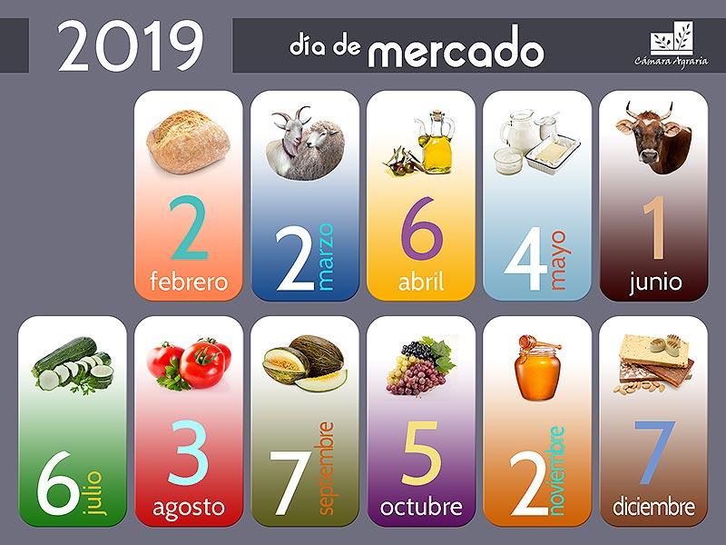 Calendario de los Días de Mercado de la Cámara Agraria de Madrid durante el año 2019. ¡Ven a conocernos!