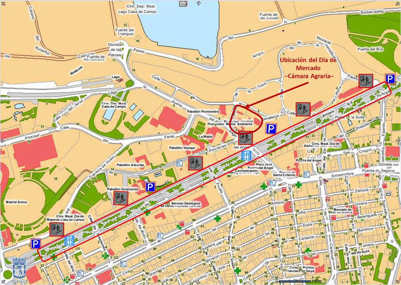 Plano de localización del parking (y ubicación del recinto de la Cámara Agraria de la Comunidad de Madrid)